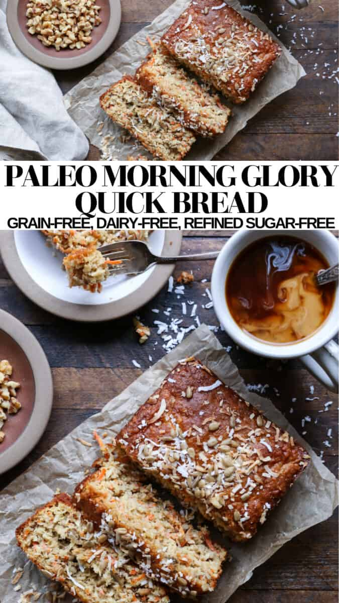 Paleo Morning Glory Quick Bread - grain-free, refined sugar-free, dairy-free moist and delicious bread!