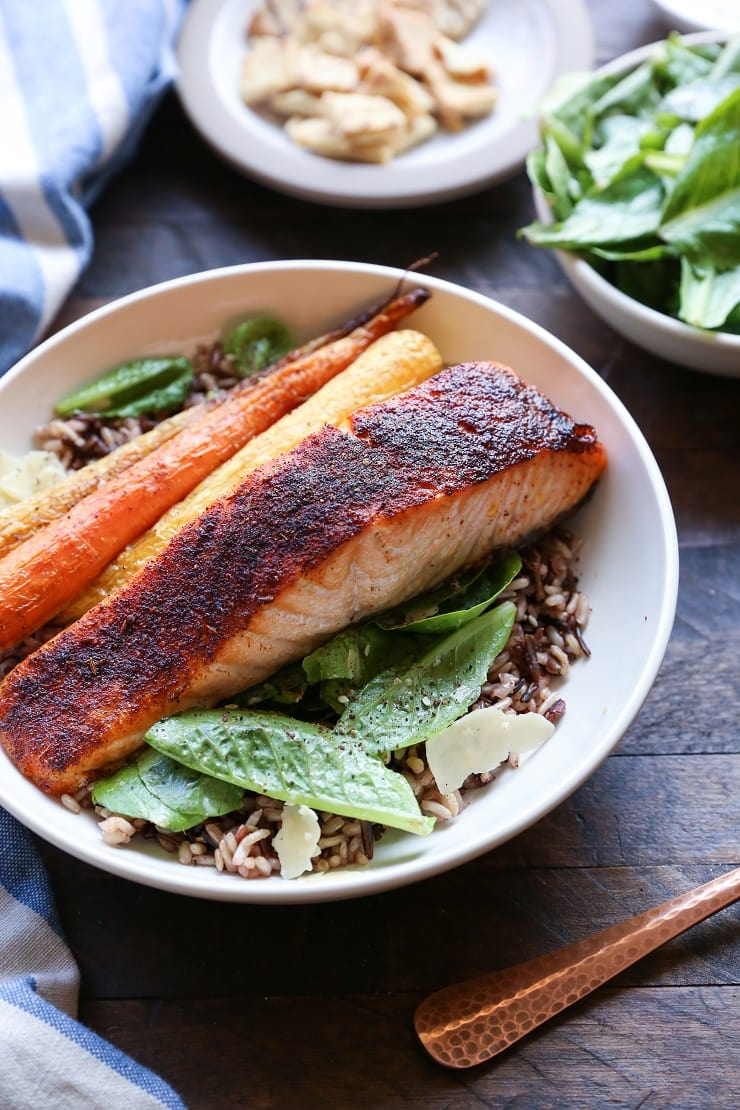 Baked Salmon Caesar Salad Bowls with roasted carrots and wild rice | TheRoastedRoot.net #healthy #dinner #recipe
