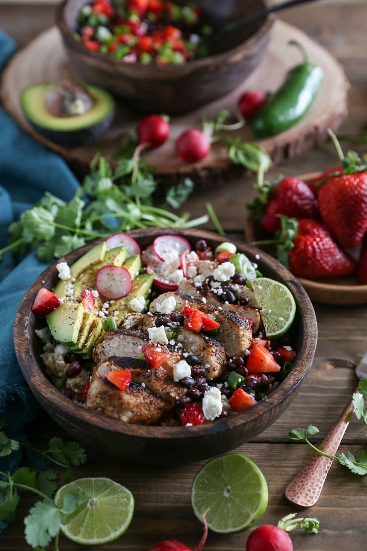 Balsamic Grilled Chicken with Strawberry Black Bean Salsa - any easy healthy gluten-free dinner recipe