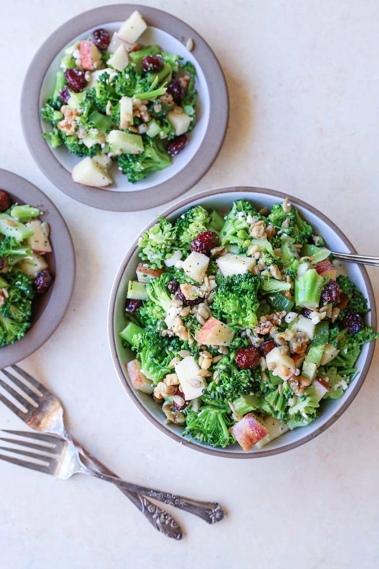 Mayo-Free Broccoli Salad with Lemon Poppy Seed Dressing | TheRoastedRoot.net #healthy #vegetarian #recipe