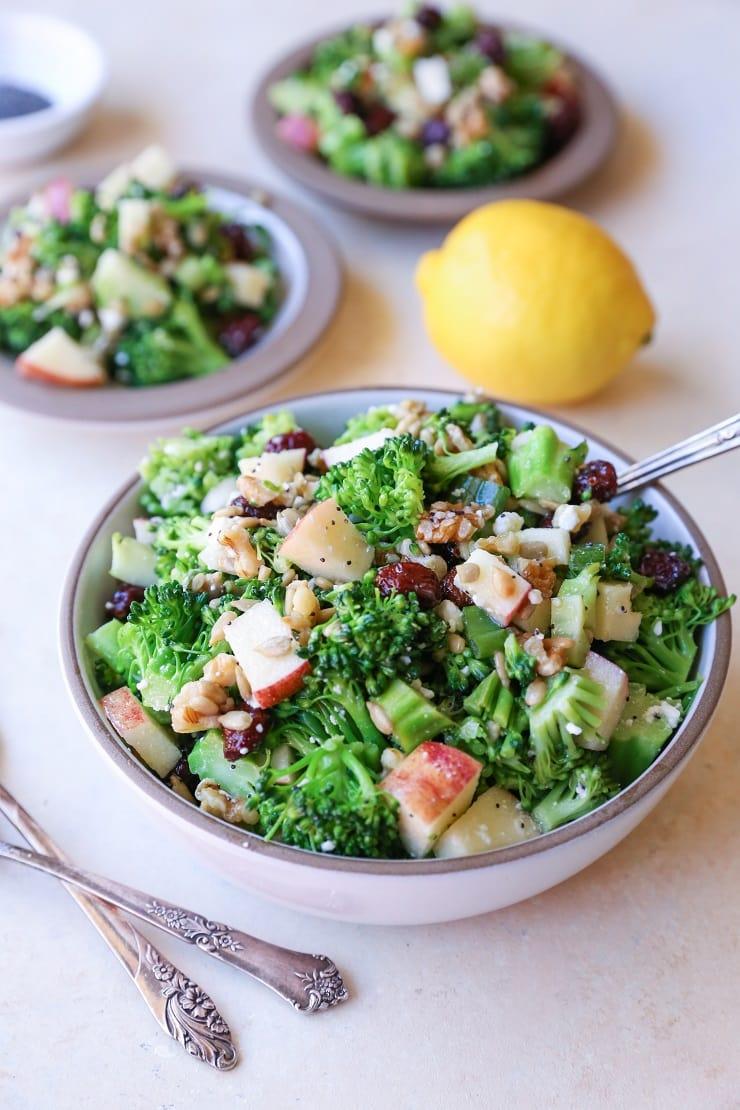Mayo-Free Broccoli Salad with Lemon Poppy Seed Dressing   TheRoastedRoot.net #healthy #vegetarian #recipe