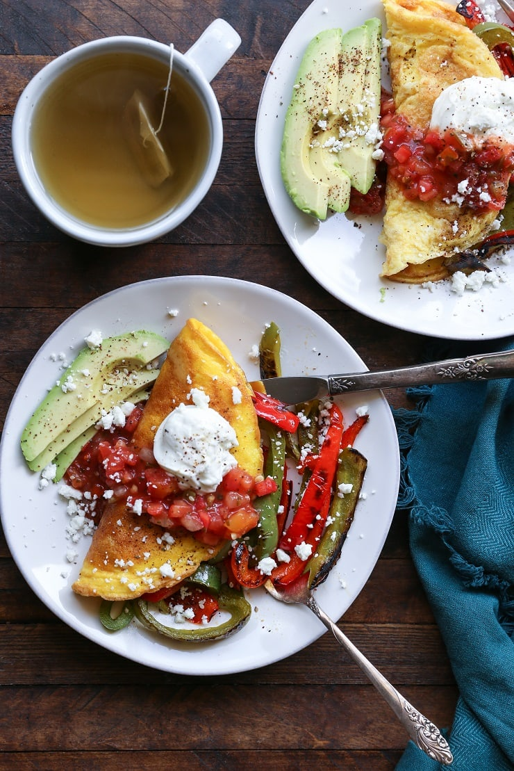 Fajita Omelettes - a quick, easy, and nutritious breakfast recipe.