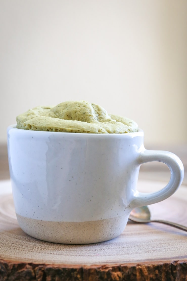 Gluten-free, naturally sweetened Matcha Mug Cake - a quick and easy dessert for one!