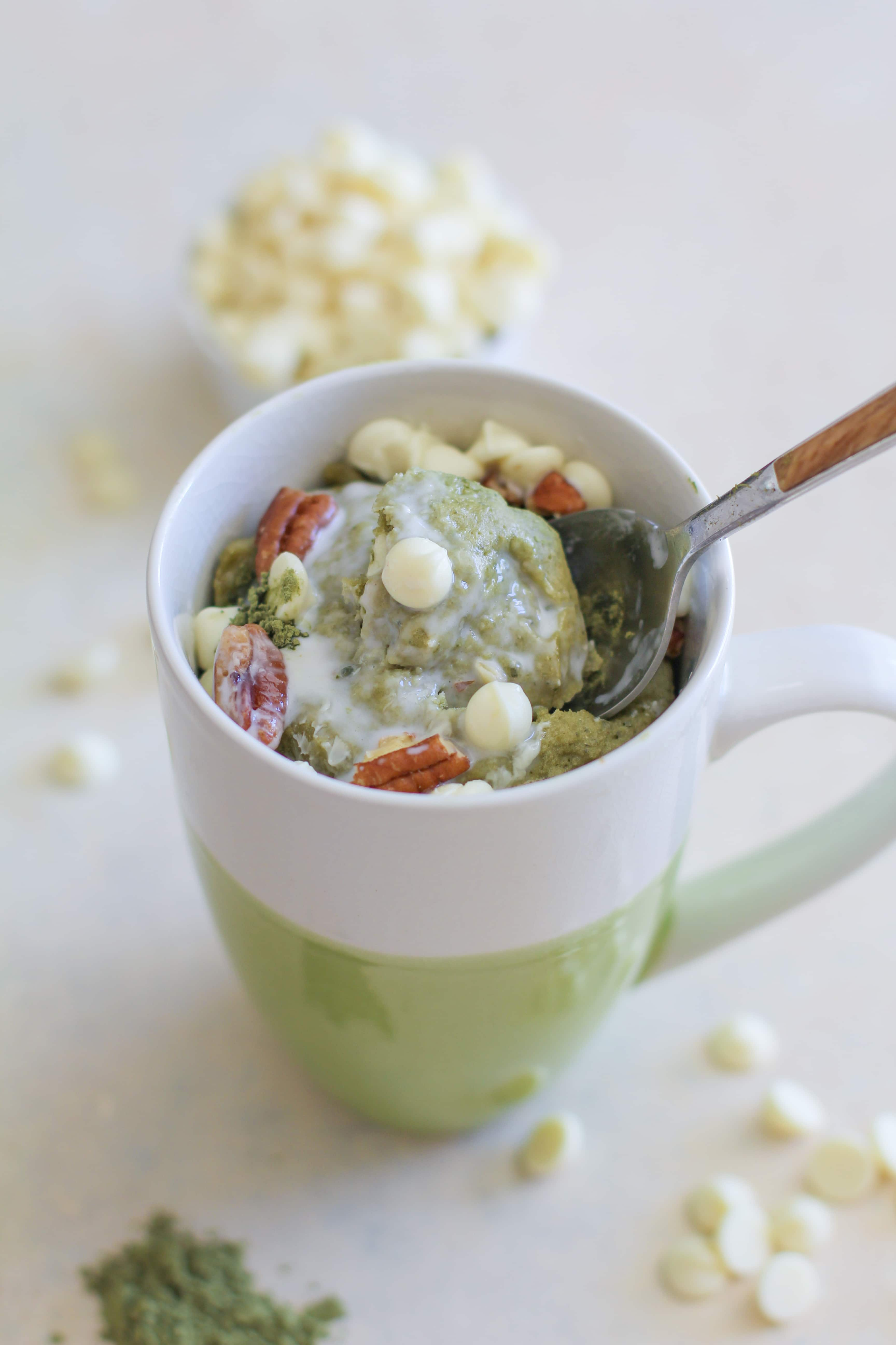 Matcha Mug Cake. Only 5 minutes required for this easy gluten-free dessert recipe