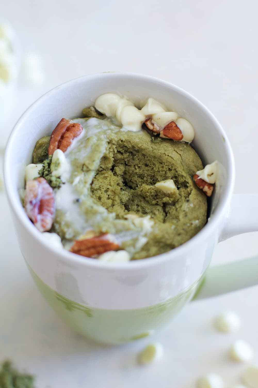 Matcha Mug Cake made in 5 minutes. Gluten-free and refined sugar-free.