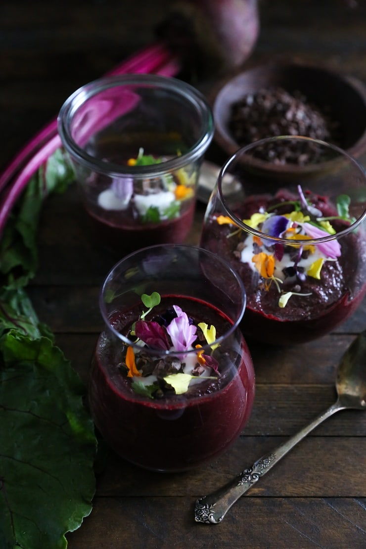 Vegan Beet Chocolate Pudding made with only a few whole food ingredients - paleo-friendly, dairy-free, and naturally sweetened!