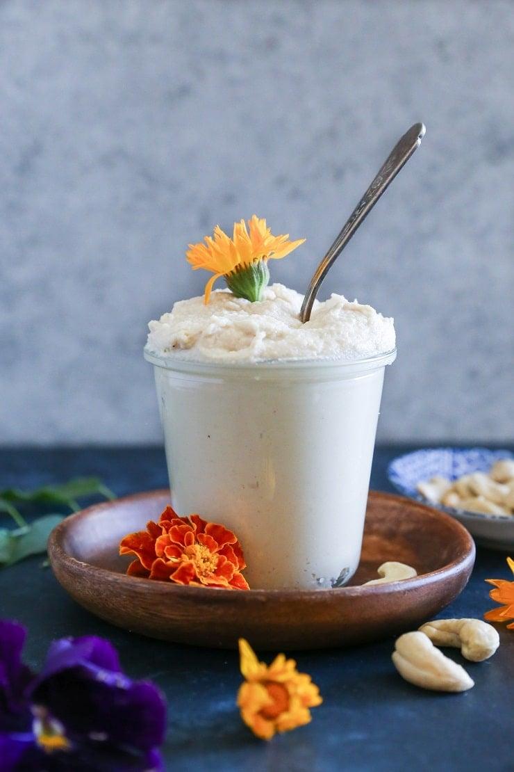 "Vegan ""Cream Cheese"" Frosting made with cashews | TheRoastedRoot.net #recipe #dessert #sugarfree"
