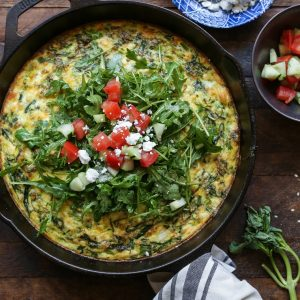 Zucchini, Arugula, and Feta Frittata | TheRoastedRoot.net #vegetarian #breakfast #healthy