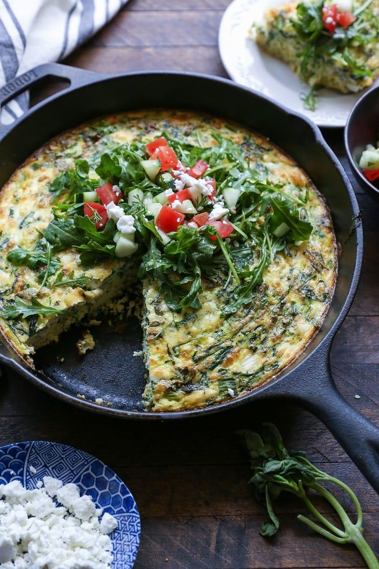 Zucchini, Arugula, and Feta Frittata | TheRoastedRoot.net #vegetarian #breakfast #healthy