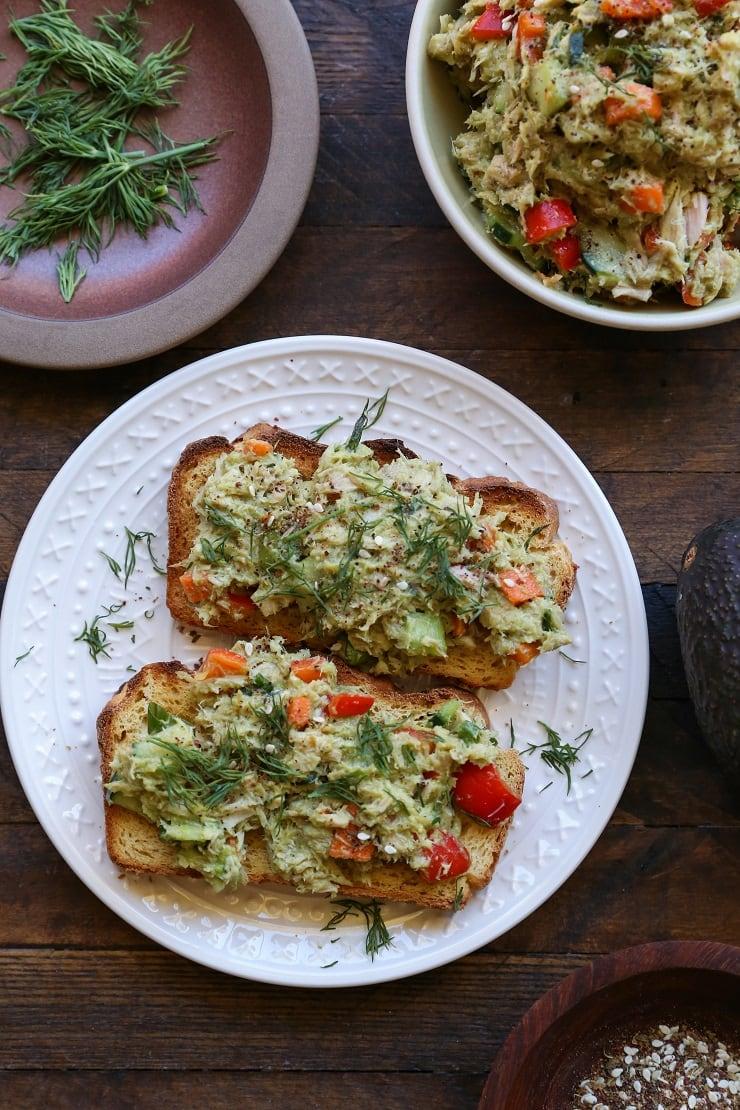 Cucumber Dill Avocado Tuna Salad - a healthy, mayo-free tuna salad perfect for lunch