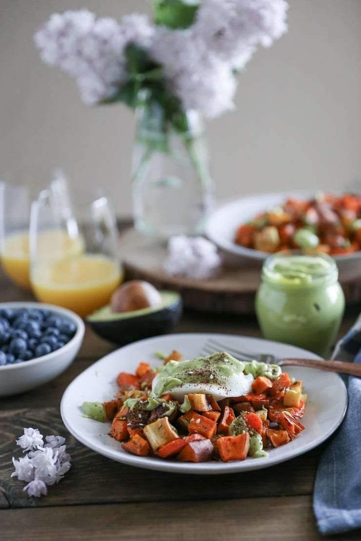 Eggs Benedict with Avocado Hollandaise Sauce - a vegetarian and paleo approach to eggs benedict with roasted root vegetables