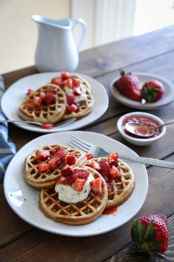 Grain-Free Almond Flour Waffles made in your blender! This paleo breakfast recipe is quick and easy! Gluten-free and dairy-free.