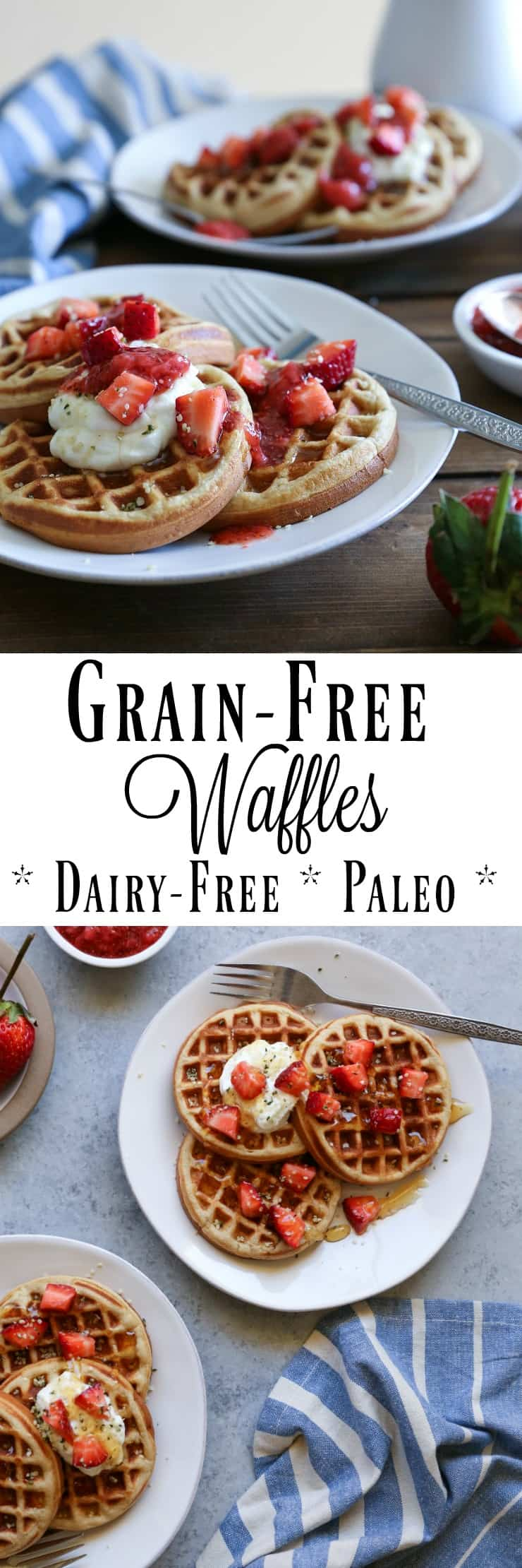 Grain-Free Paleo Waffles made with almond flour - dairy-free, refined sugar-free, and delicious!