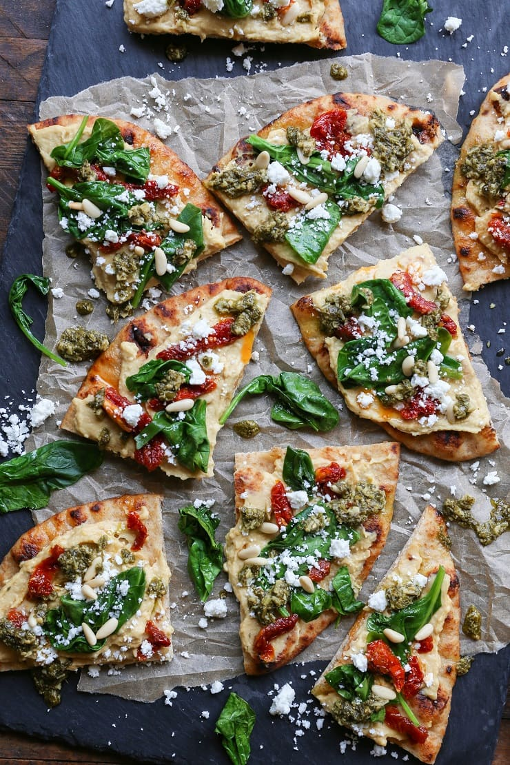 Hummus Flatbread With Sun Dried Tomatoes Amp Pesto The