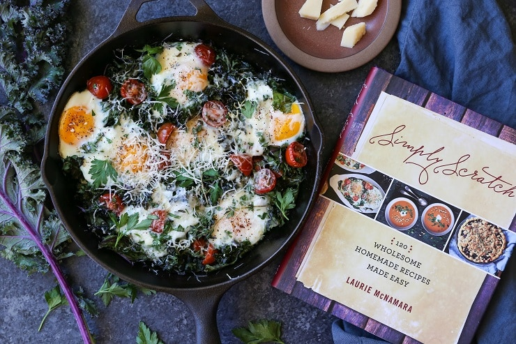 Tomato, Kale, and Parmesan Baked Eggs is a healthful vegetarian breakfast - super quick and easy to prepare!