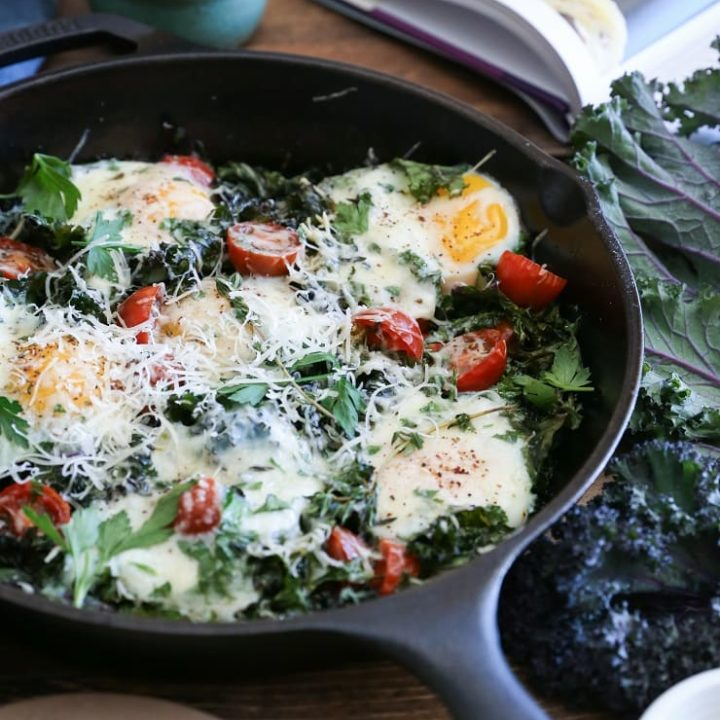 Tomato, Kale, and Parmesan Baked Eggs - a rustic, filling and healthy vegetarian breakfast