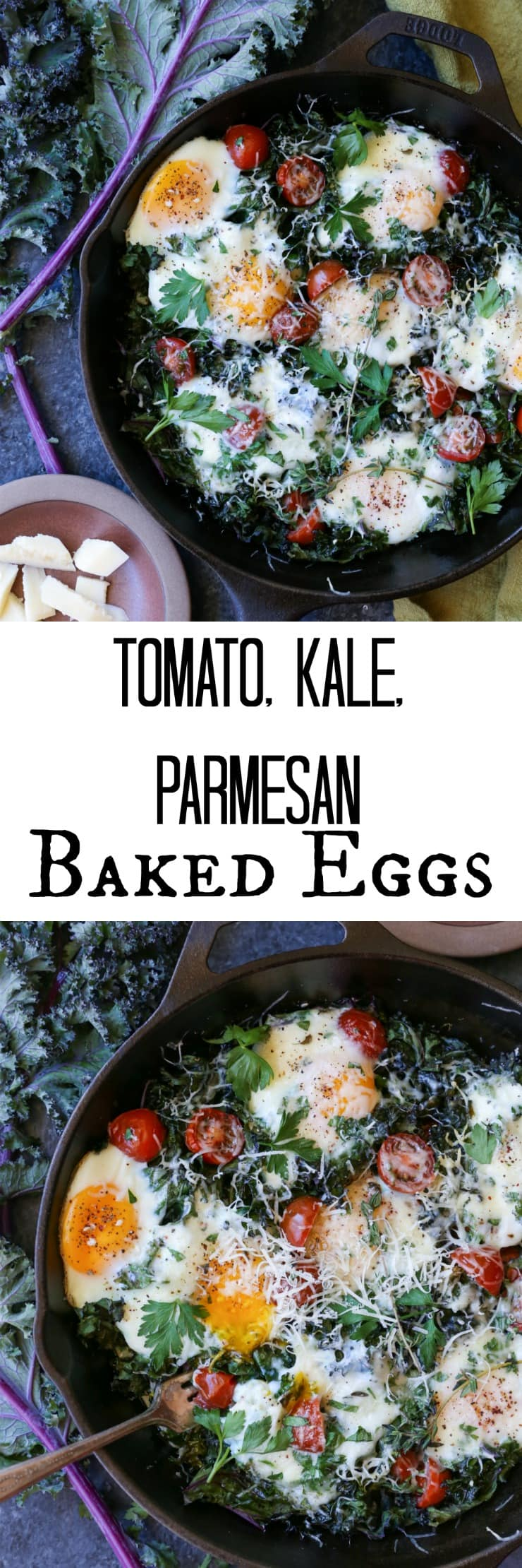 Tomato, Kale, and Parmesan Baked Eggs - a rustic, delicious, healthy vegetarian breakfast perfect for any day of the week