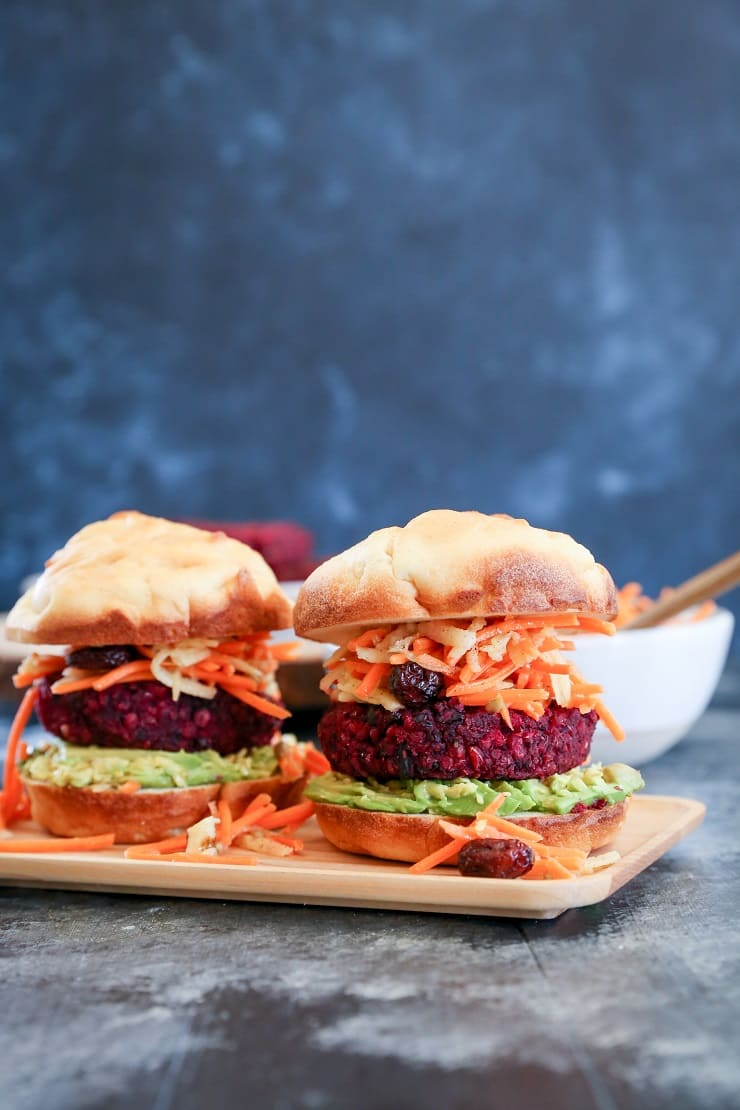 Beet and Black Bean Burgers with Carrot Slaw - a nutritious, filling vegan dinner recipe that only takes 30 minutes to prepare!