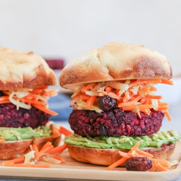 Beet and Black Bean Burgers with Carrot Slaw - a nutritious, filling vegan dinner recipe that only takes 30 minutes to make!