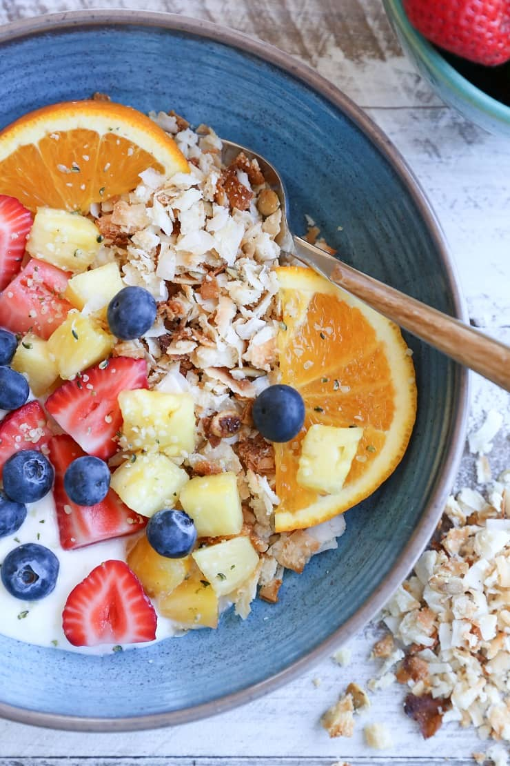 Coconut Lovers Paleo Granola made with only a few basic ingredients. This grain-free, refined sugar-free vegan granola recipe is so simple to make!