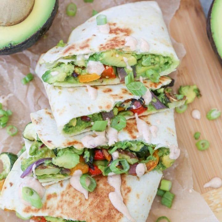Grilled Vegetable Avocado Quesadillas (vegan)