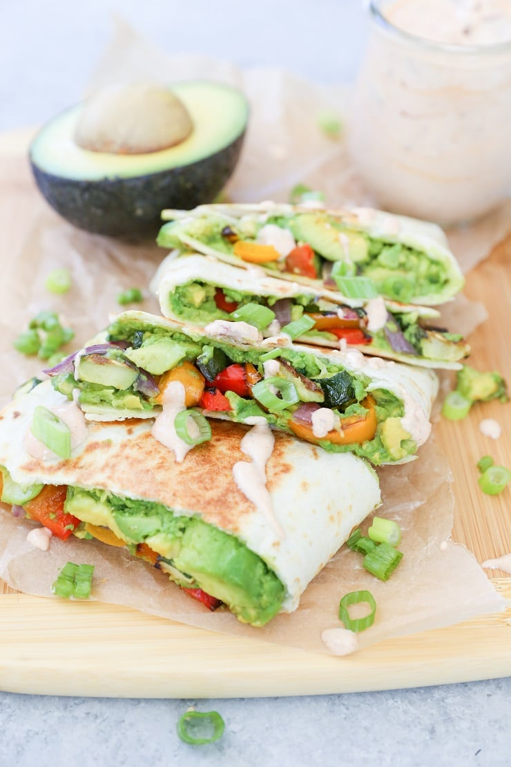 Grilled Vegetable Avocado Quesadillas (vegan)