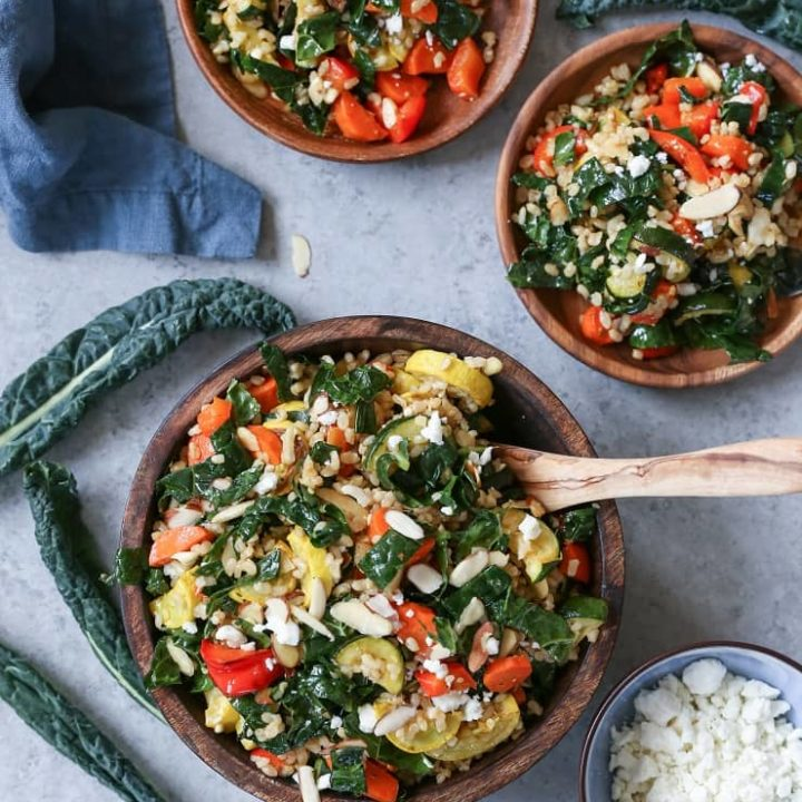 Roasted Vegetable and Rice Kale Salad is the perfect healthy side dish for summer picnics and barbecues