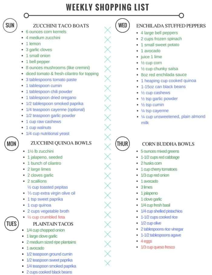 Healthy vegetarian meal plan shopping list