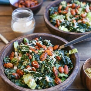The Best Vegan Kale Caesar Salad Recipe - made with all whole food ingredients. This paleo caesar salad is perfect for gatherings!