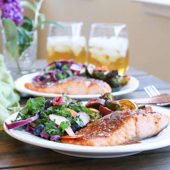 Crispy Honey-Glazed Salmon with roasted vegetables and kale salad