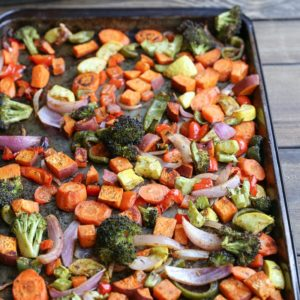 Crowd-Pleasing Roasted Vegetables - a basic recipe with lots of room for adaptations! This vegan and vegetarian side dish is perfect for serving a crowd