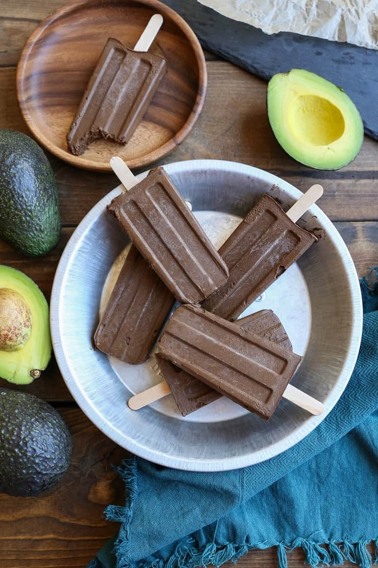 Dairy-Free Fudgesicles made with avocado, cacao powder, pure maple syrup, and coconut milk for a vegan and paleo dessert!