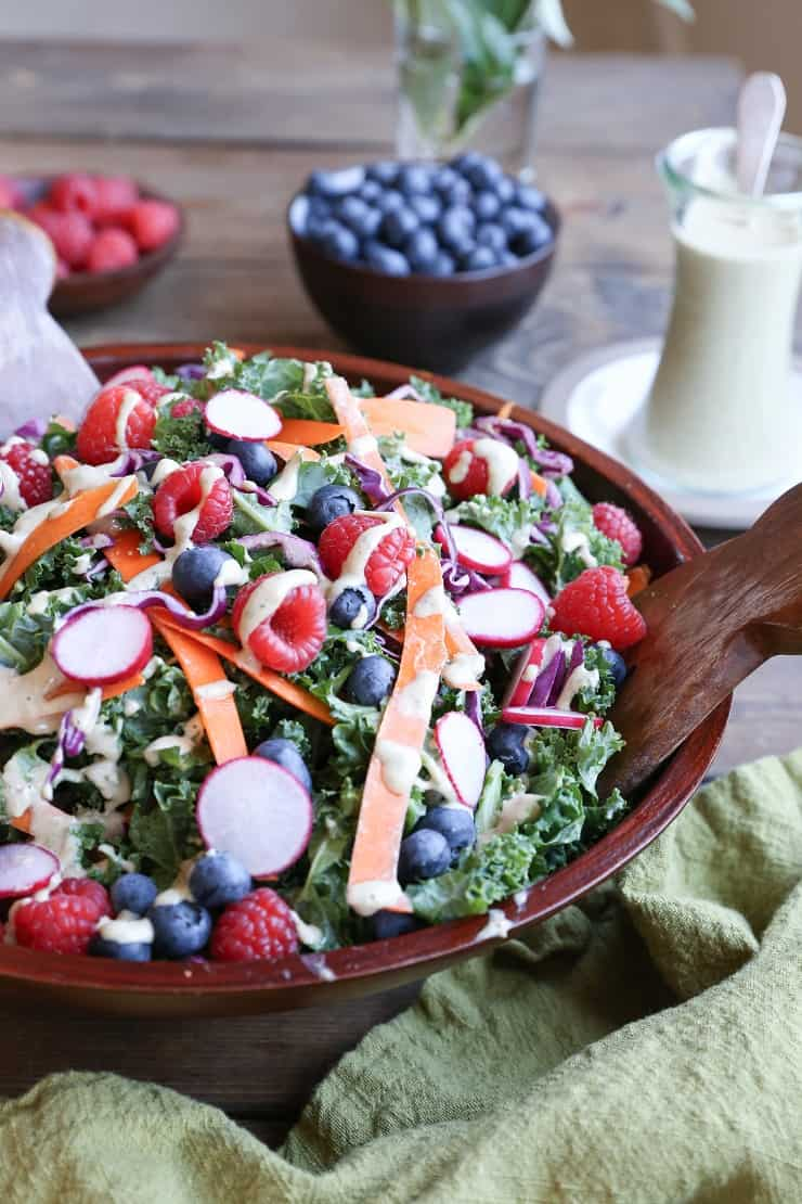 Kale and Blueberry Salad with Vegan Buttermilk Dressing - the perfect healthy option for bringing to picnics and barbecues!