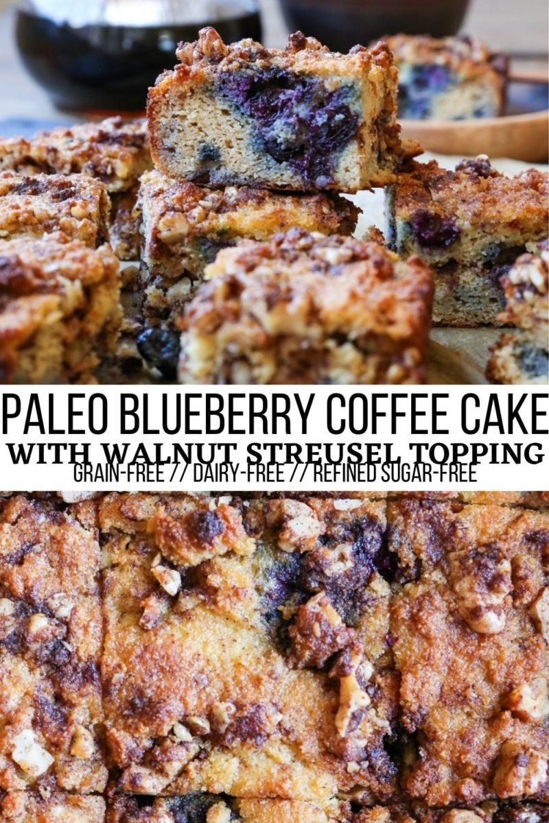 Paleo Blueberry Coffee Cake made grain-free, dairy-free, refined sugar-free and delicious! The streusel topping is everything!