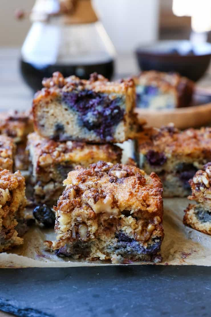 Paleo Blueberry Coffee Cake - a grain-free, dairy-free, refined sugar-free version of the classic breakfast. Made with almond flour, coconut flour, and pure maple syrup, this healthy treat is delicious and nutritious!