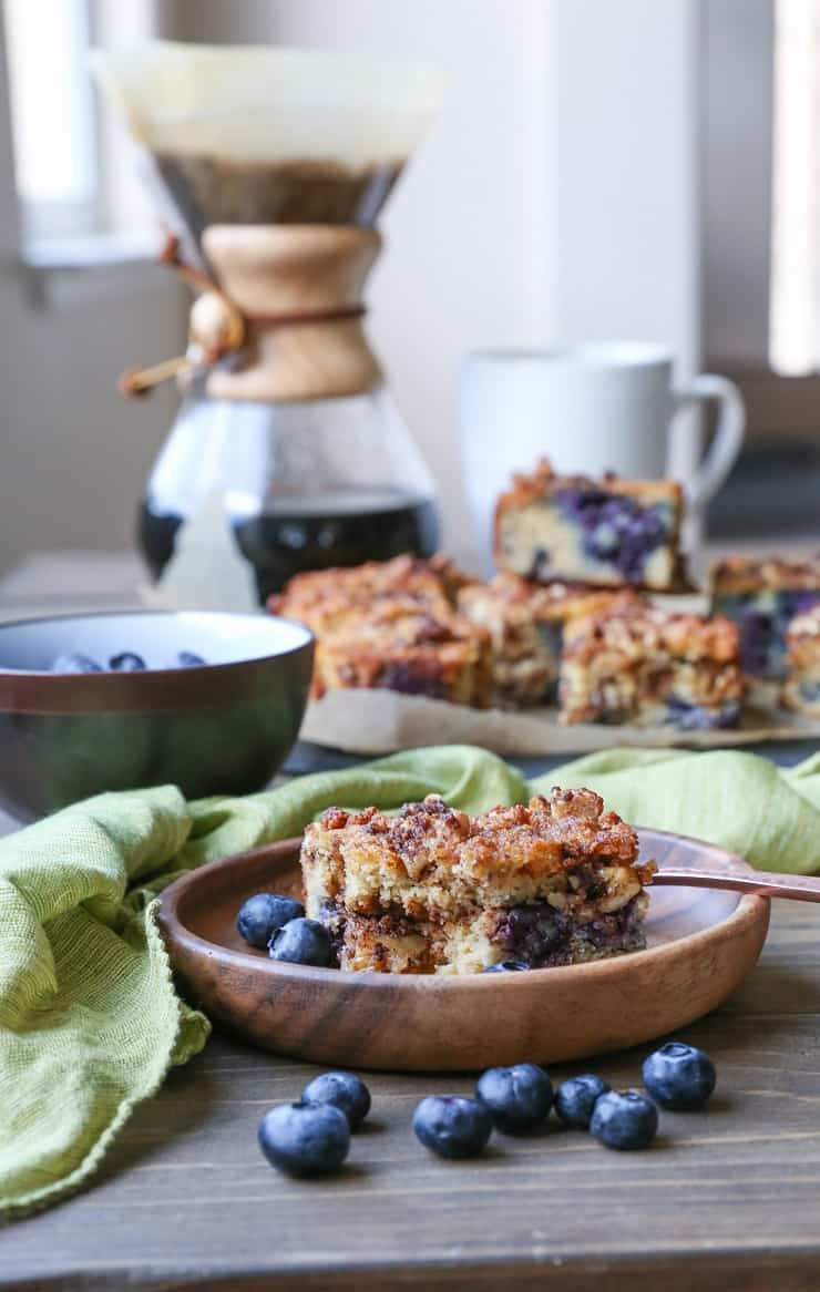 Paleo Blueberry Coffee Cake - a blueberry-studded gluten-free, naturally sweetened, dairy-free version of the classic breakfast cake