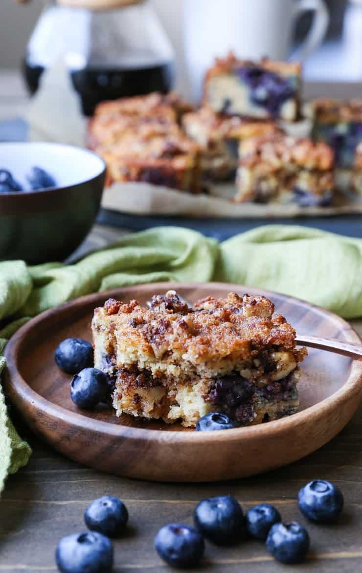 Grain-Free Paleo Blueberry Coffee Cake made with almond flour, coconut flour, and pure maple syrup. Dairy-free and naturally sweetened!