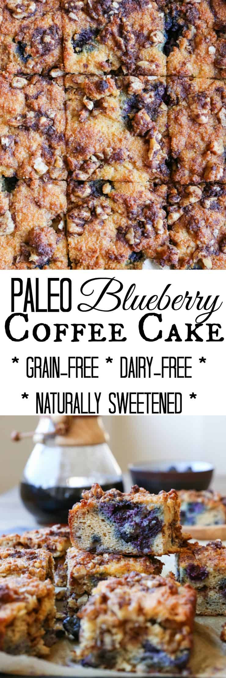 Paleo Blueberry Coffee Cake - a grain-free, refined sugar-free, dairy-free version of the classic breakfast cake. Only takes a few minutes to prepare in your blender!