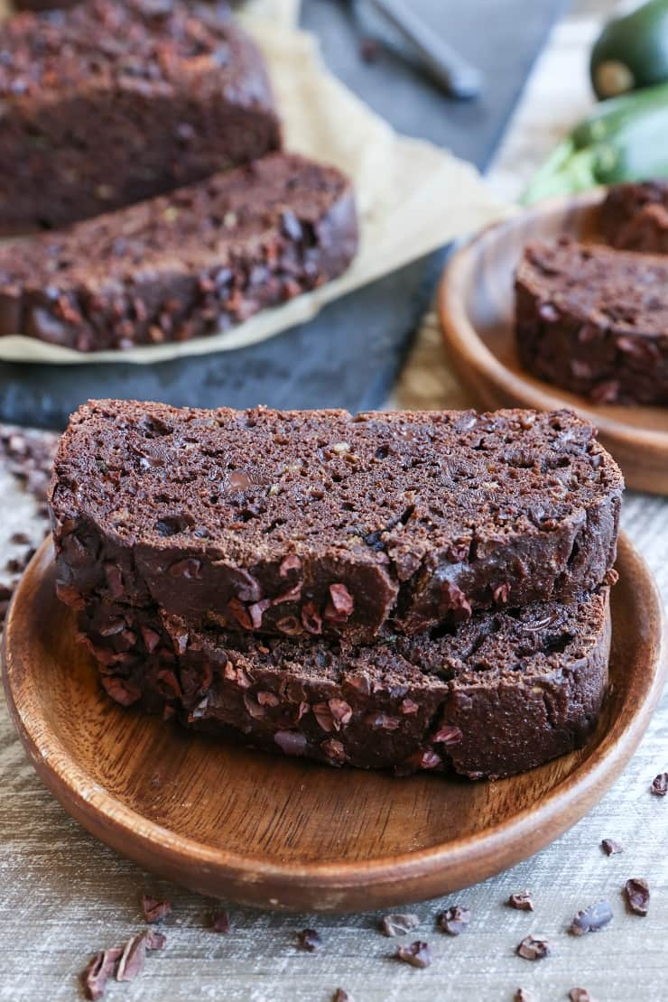 Paleo Double Chocolate Zucchini Bread made with almond flour and pure maple syrup - this healthy quickbread is grain-free, dairy-free, refined sugar-free, and easily prepared in your blender