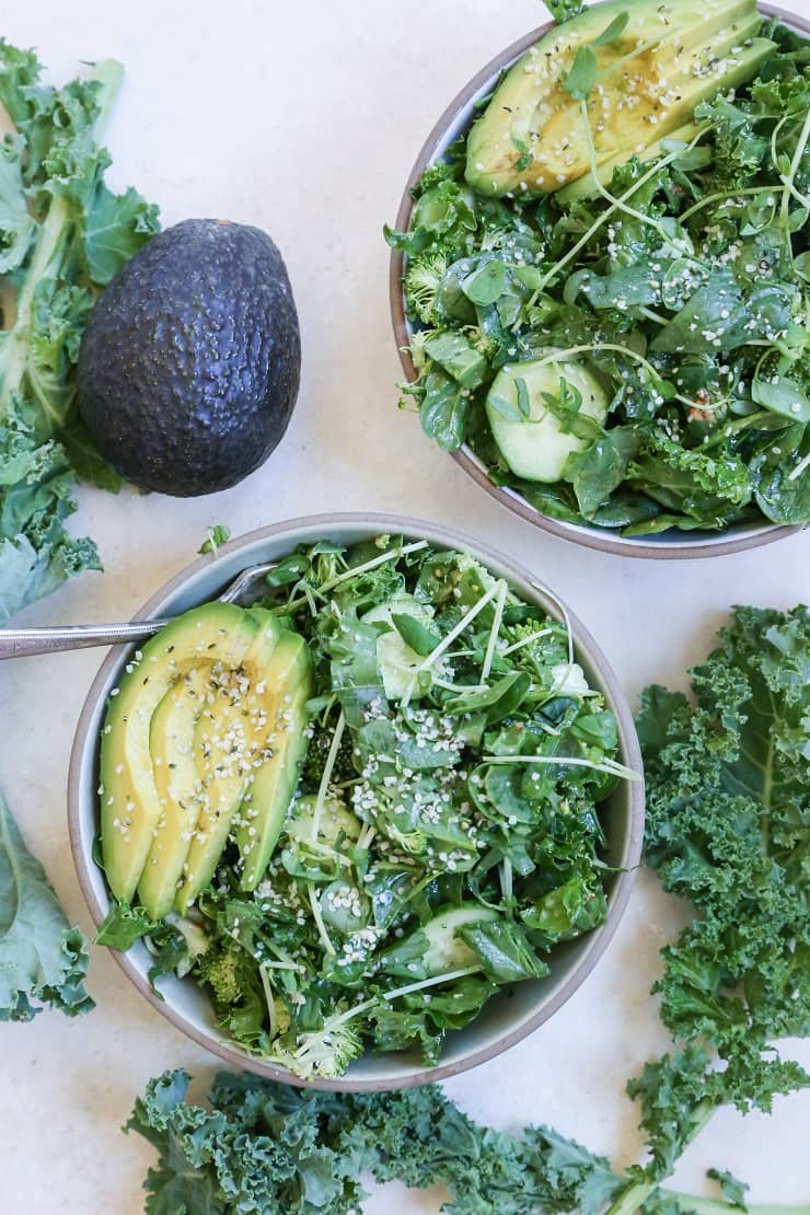 Raw Power Bowls with broccoli, kale, spinach, cucumber, avocado, and more!