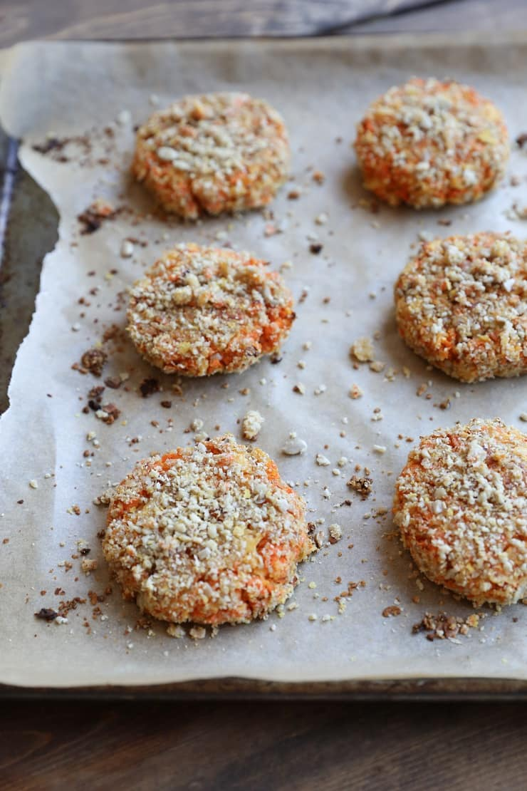 Sunflower seed-crusted Sweet Potato and Parsnip Fritters - a vegan and paleo side dish or dinner