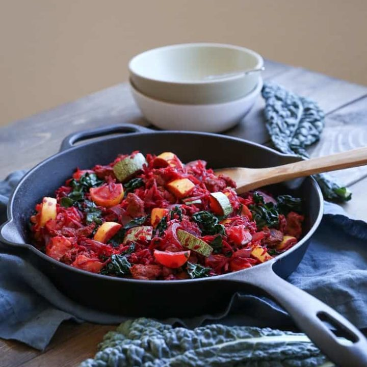 Turkey, Beet, Zucchini Hash - an AIP and paleo friendly breakfast recipe made with highly nutritious ingredients
