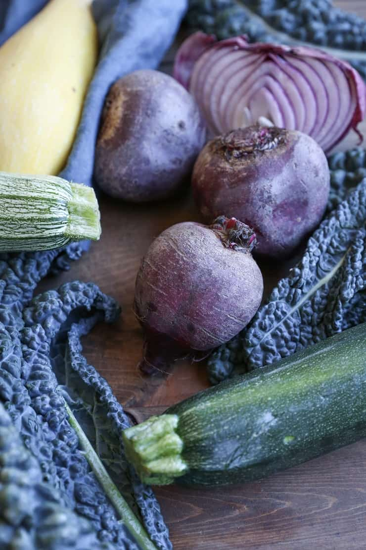 beets, zucchini, summer squash, red onion, kale