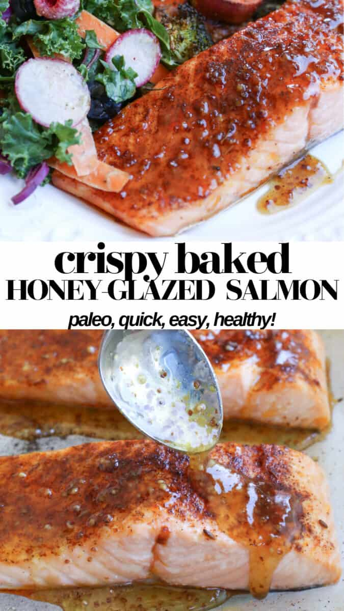 Crispy Honey-Glazed Salmon takes no more than 30 minutes to make and is a healthy flavorful dinner recipe! Paleo, refined sugar-free, and nutritious!