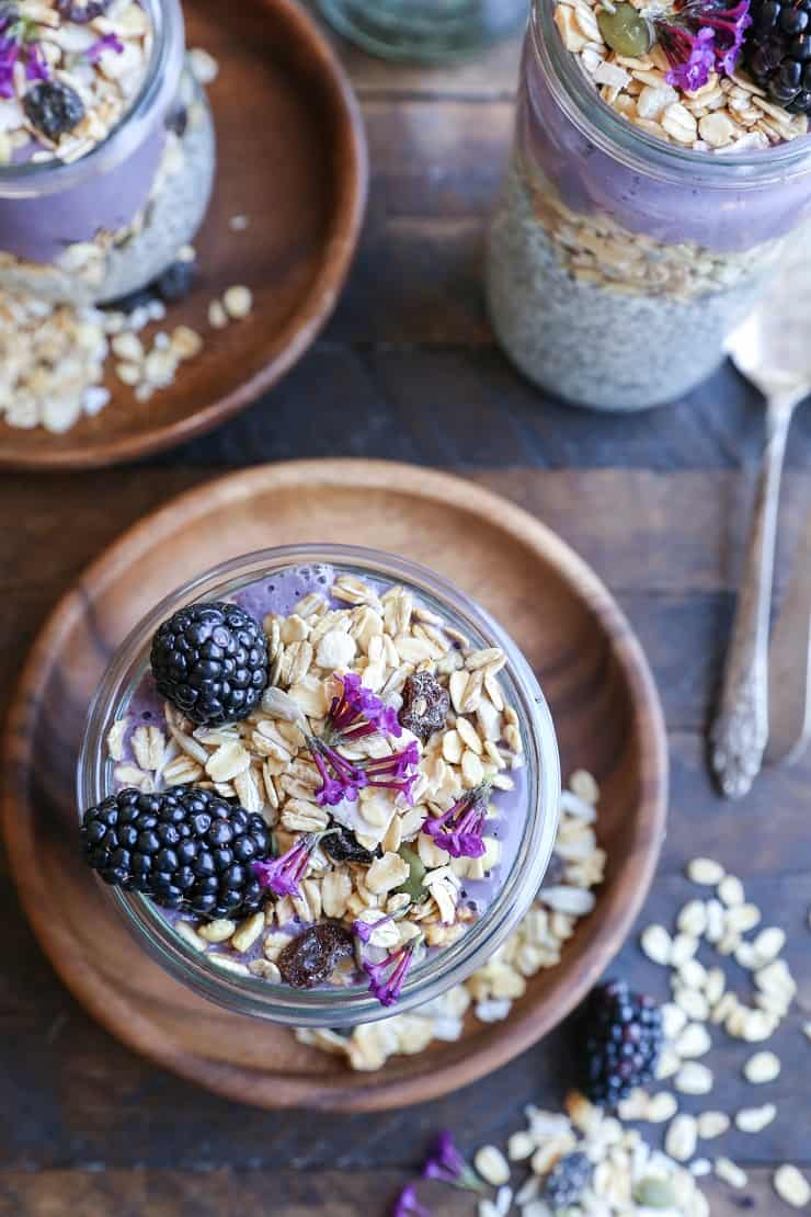 Blackberry Smoothie Chia Seed Pudding Parfait with muesli - a healthy dairy-free breakfast or dessert