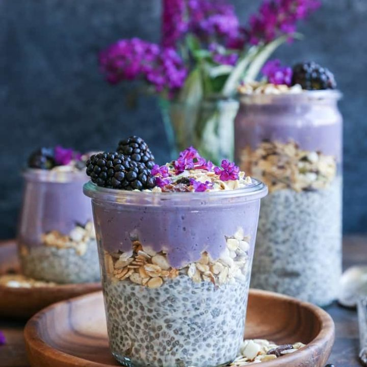 Blackberry Smoothie Chia Seed Pudding Parfait - a healthy dairy-free breakfast or dessert