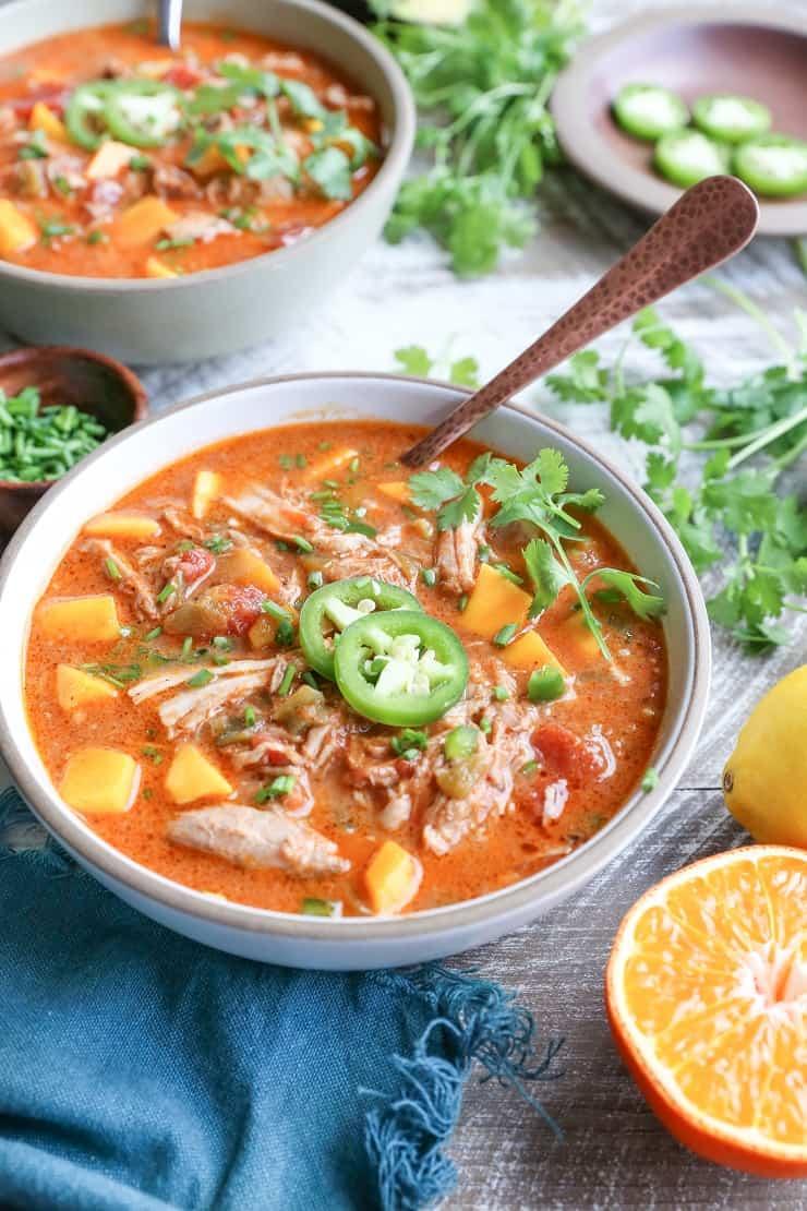 Crock Pot Citrus Pork Chili with Mango - gluten-free, bean-free, paleo, whole30 and healthy!