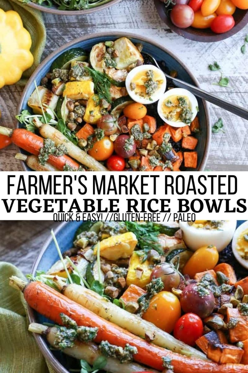 Farmer's Market Roasted Veggie Rice Bowls with Carrot Top Pesto - make great use of your CSA Box or farmer's market produce with these delicious, colorful bowls!