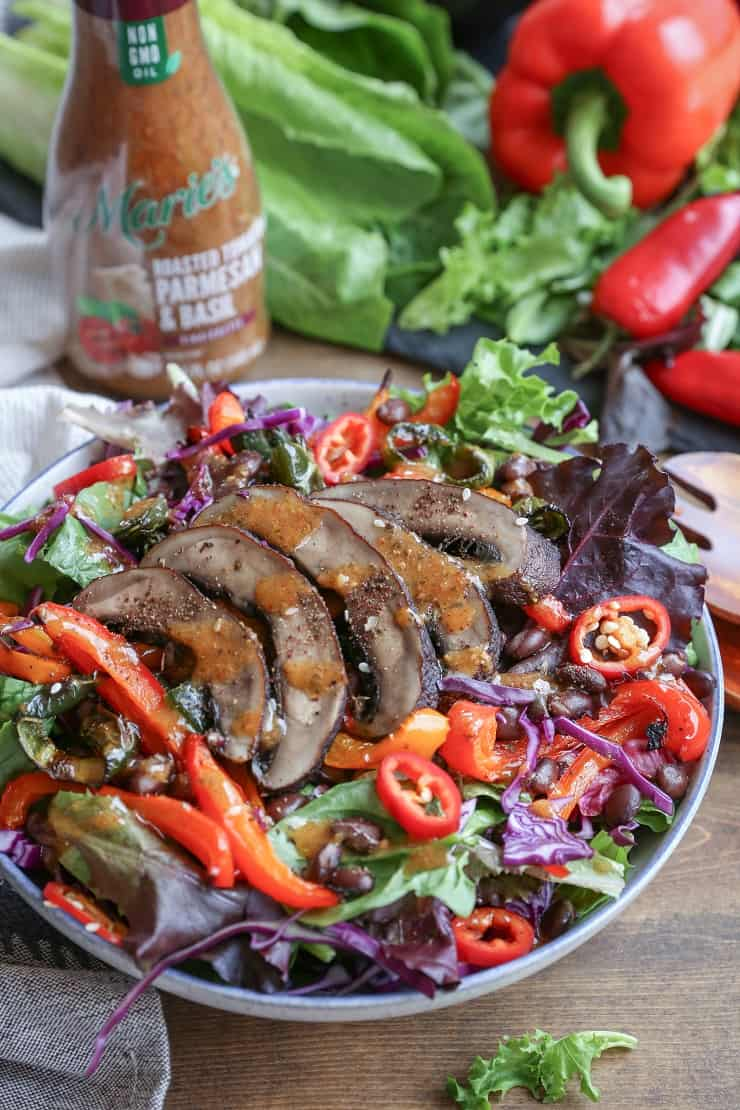 Grilled Portobello and Bell Pepper Salad with Black Beans - a healthy vegetarian meal or side dish perfect for summer