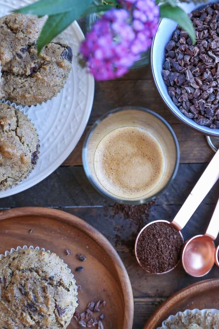 Grain-Free Paleo Chocolate Chip Muffins made with almond flour and pure maple syrup - a healthy breakfast or snack recipe!